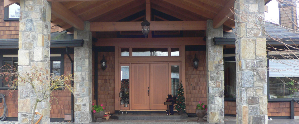 Home front entrance with stone pillars